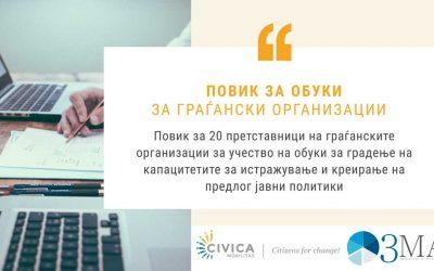 Повик за обуки за граѓански организации